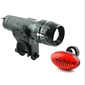 H&S® CREE LED Bike Bicycle Front Head Lights Torch + Rear Tail Lamp Set Single From H & S