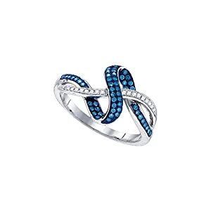 10kt White Gold Womens Round Blue Colored Diamond Band Fashion Ring (.25 cttw.)