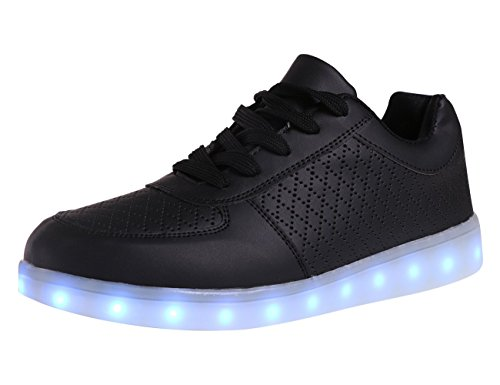 7 Colors LED Luminous Shoes Unisex Sneakers Men & Women Sneakers USB Charging Light Shoes Colorful Glowing Leisure Flat High-cut Shoes(8D(M) US)Black