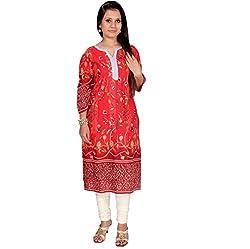 Mrignayaneei Women Cotton Semi -Stitched Kurti(KB60_Red)