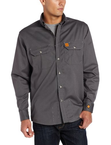 Wrangler Men'S Fire Resistant Work Shirt With Two Front Pockets, Slate Grey, Large front-12346