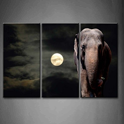 3 Panel Wall Art Black And White Elephant Walikng In The Night Full Moon Painting The Picture Print On Canvas Animal Pictures For Home Decor Decoration Gift Piece (Stretched By Wooden Frame,Ready To Hang)