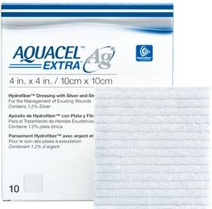 "Alimed AQUACEL Ag Extra Hydrofiber Antimicrobial Dressing, 6"" x 6"" (Box Of 5)"
