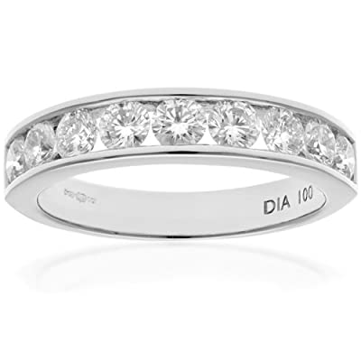 Ariel Platinum Channel Set Half Eternity Ring, H/SI Certified Diamonds, Round Brilliant