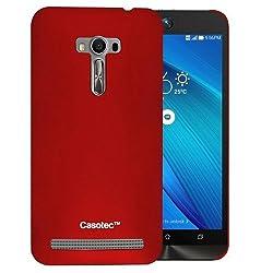 Casotec Ultra Slim Hard Shell Back Case Cover for Asus Zenfone 2 Laser ZE550KL - Maroon Red