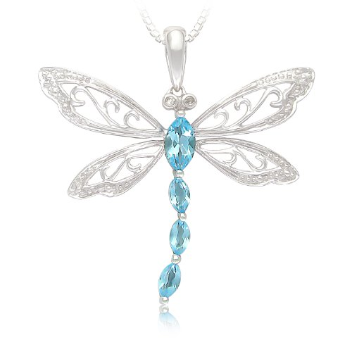 Sterling Silver Swiss Blue Topaz and Diamond Dragonfly Pendant Necklace (0.01 cttw, I-J Color, I2-I3 Clarity), 18