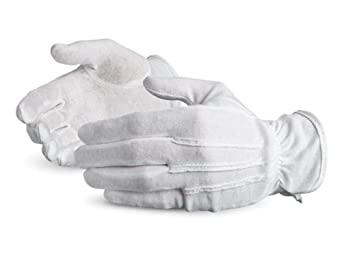 Superior LL100D Cotton Inspectors Parade Pattern Glove with PVC Grip Dots on Palm, Work, Size 7, White (Pack of 1 Dozen)