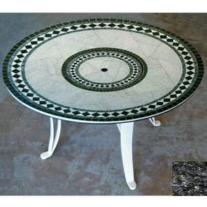 "Oasisfire Uft3660Mbbpb Universal Style Fire Table-36"" Tall X 60"" Diameter, Morocco Design, Blues And Blacks Granite Colors, Poly Black Powder Coat Moroccocollection"