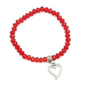 bijoucolor - Bracelet perles cristal et breloque coeur