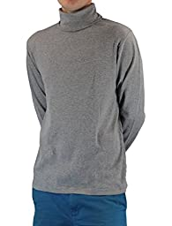 Heather Gray Men\'s 100% Combed Cotton Supersoft Relaxfit Casual Ski Turtleneck (X-Large)
