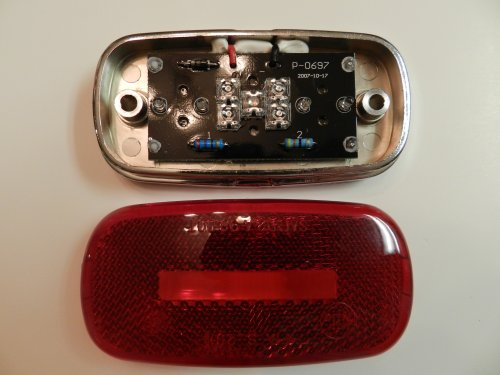 1 Red Camper Trailer Rv Light 9 Led 2 X 4 Surface Mount W/ Chrome Base, Clearance Marker