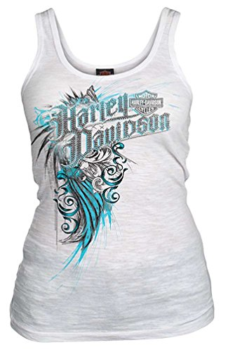 Harley-Davidson Women's Embellished Away Crimes Sleeveless Tank Top, White (M)