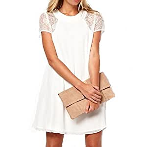 Amazon.com : women vestido de festa lace L White : Everything Else