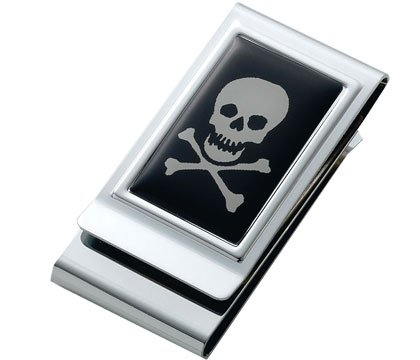 Skull & Bones Epoxy Metal Chrome Plated Two Sided Money Clip
