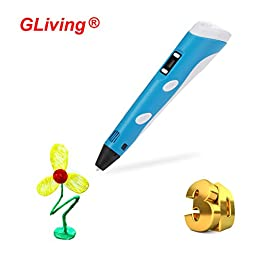 Gliving® 3D Printing Pen Intelligent 3D Arts Crafts Drawing Model Making 2nd with LCD Screen Support PLA ABS Filament Material (Blue)