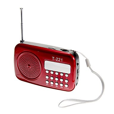 MM T-221 AUX Audio Input High Sensitive FM Stereo Radio Speaker , Red