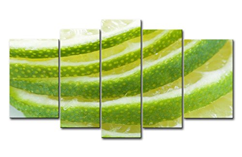 Green 5 Panel Wall Art Painting Lime Citrus Slices Pictures Prints On Canvas Food The Picture Decor Oil For Home Modern Decoration Print