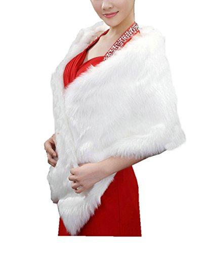 APTRO Women's Faux Fur Warm Dress Shawl for Winter Weddings Style 1