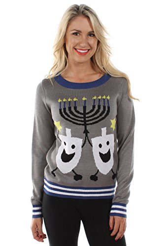 Women's Ugly Christmas Sweater - The Hanukkah Sweater Blue Size M
