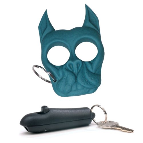 """Sabre Red """"Spitfire"""" Police Strength Pepper Spray - Advanced, Compact Key Ring Spray With Refillable, Black Case And Light Blue (Aqua) Brutus The Pitbull (Bulldog) Keychain Bundle - Lot Of 2 Pieces front-677766"""
