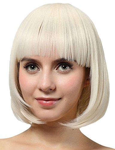 EOZY Perruque de Cheveux en Fibres Synthétiques Court Perruque Droit Similaire GAGA avec Frange Plat Blanc 28 CM