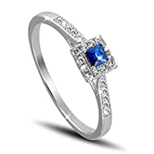 buy 925 Sterling Silver Rhodium Plated Brilliant And Baguette Cut Blue And Clear Created Sapphire Square Shaped Stones Engagement Ring, Size 7