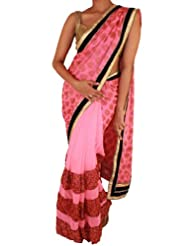 Sweta Sutariya Women's Georgette Peach Saree