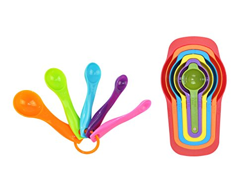 Fantasy Life 11 Pcs Set of Plastic Nested Measuring Cups and Spoons Set. Stackable Space Saving Multicolor Design (Glass Espresso Measuring Cup compare prices)