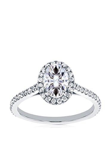 Kobelli 14K White Gold Oval-Cut Moissanite & Diamond Halo Engagement Ring