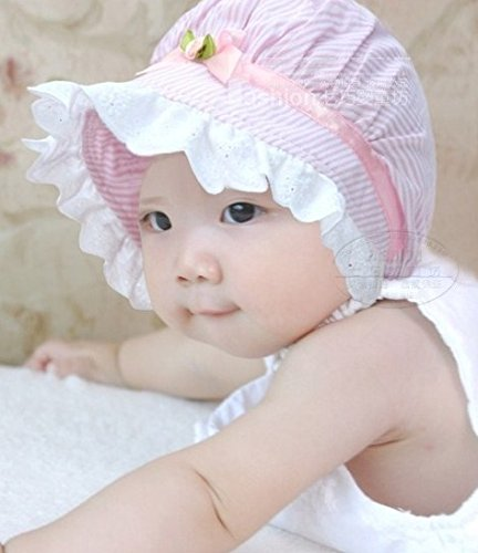 【LudusFelix】帽子 ベビー 子供 つば付き フリル付き ストライプ バラ UV 日よけ キッズ 全3色【紫外線からベビーを守る】【日本正規販売店】 (ピンク)