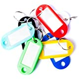 Islandoffer 50 Pcs Colorful Key ID Label Tags Split Ring Keyring Keychain