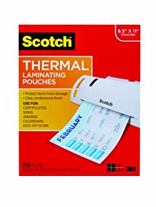 Scotch Thermal Pouches 8.9 x 11.4 Inches, 200-Pack (TP3854-200)