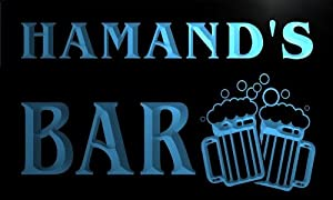 w105031 b HAMAND Name Home Bar Pub Beer Mugs Cheers Neon Light Sign