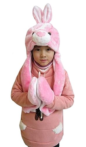 Tonwhar Cartoon Animal Hood Hoodie Hat With Attached Scarf And Mittens (Pink Bunny) front-184271