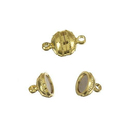 Klein Gold vergoldet rund Magnetverschluss 15mm 2Stück