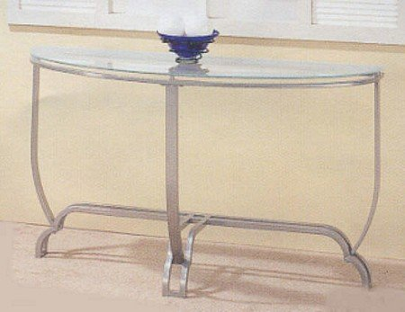 Image of Brushed Nickel Metal Frame Modern Style Sofa/End Table with Clear Glass Top and Sanded Glass Trim on the Edge (VF_7342)