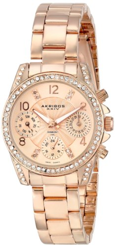 Akribos XXIV Women's Lady Diamond and Crystal-Accented Stainless Steel Watch