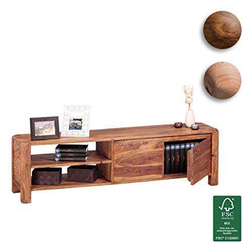 FineBuy-Lowboard-Massivholz-Sheesham-Kommode-140-cm-TV-Board-Ablage-Fcher-Landhaus-Stil-dunkel-braun-Unterschrank-TV-Mbel-Echt-Holz-40-cm-hoch-Sideboard-Deko-Fernsehschrank-offen-Natur-Produkt