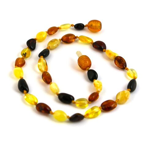 "Hazelaid (TM) 12"" Baltic Amber Multicolored Bean Necklace - 1"