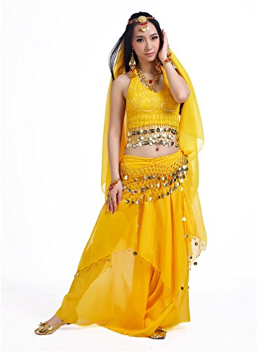 Dreamspell Tribal Style Professional belly dance 5PCS Yellow Set With Coins Decorated