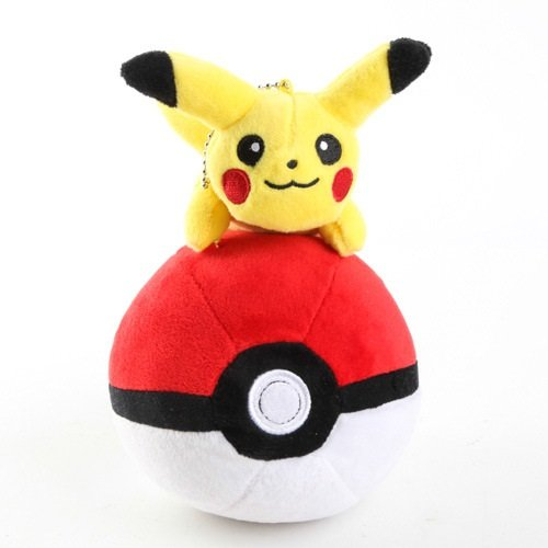 Pokemon Plush 7.2 Inch / 18cm Red Poke Ball with Pikachu Doll Stuffed Animals Figure Soft Anime Collection Toy
