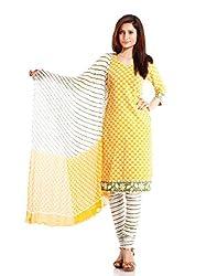 Pinkshink Women's Cotton Unstitched Yellow Salwar Kameez Dress Material psk38