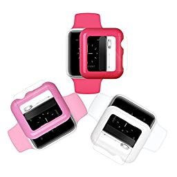 iCASEIT Apple Watch Snap-On Case & Glass 42mm (Pack of 3) Premium Slim & Light Impact & Scratch Protection (Include 3 Screen Protectors) iWatch Cases 42 mm - Hot Pink, Baby Pink & White