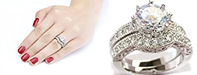 Ah! Jewellery 3.35ct Lab Created Diamond Ring And Band Set. 8mm Centre Stone Ring. Rhodium. 7.1gr Total Weight. Beautiful Wedding Engagement Set. Excellent Quality.