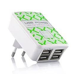 Mobilegear Usb Power Adapter With Four Port For Charging Android, Apple And Other Usb Devices