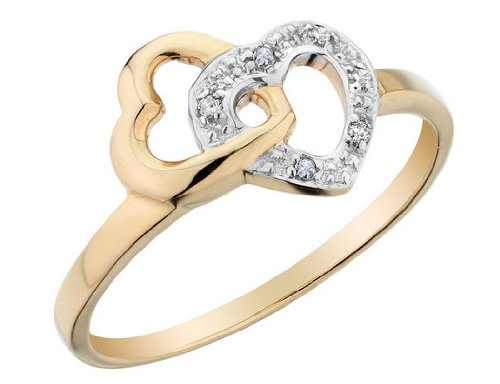 Diamond Heart Promise Ring in 10K Yellow Gold