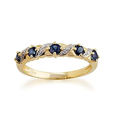 Yellow 9ct Gold 0.55ct Natural Sapphire & Diamond Half Eternity Ring