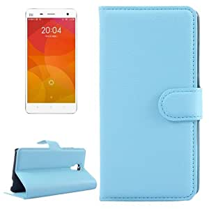 Litchi Texture Horizontal Flip Leather Case with Card Slots & Holder & Wallet for Xiaomi Mi 4 (Blue)