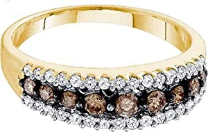 10k Yellow Gold Ring Band 0.50ct Champagne Diamonds Channel At Center & Surrounded w/ Tiny White Diamonds Fine Clarity - Incl. ClassicDiamondHouse Free Gift Box & Cleaning Cloth