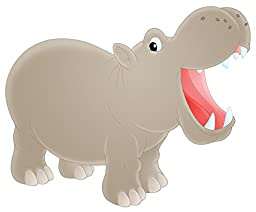Wallmonkeys WM14293 Hippopotamus Peel and Stick Wall Decals (18 in W x 15 in H)